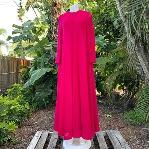 Anne Fogarty VTG 1960's Pink Knit Long Dress 10